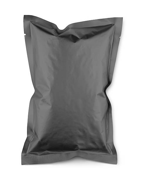 gray blank snacks food packaging plastic bag with clipping path - crisp packet stock photos and pictures