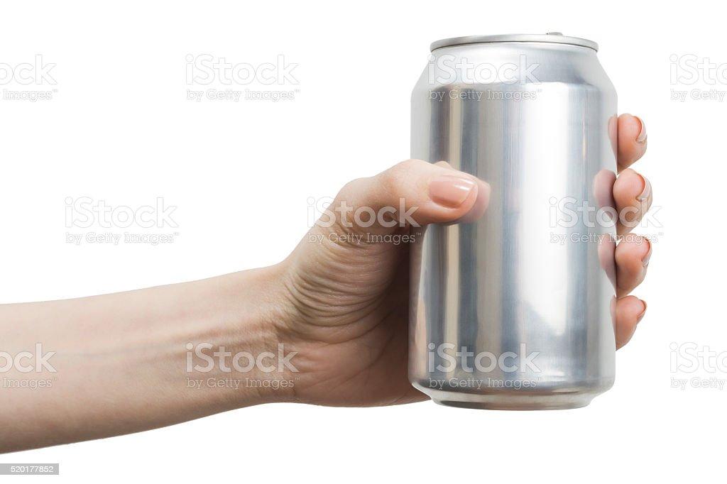 Gray Blank Soda Can stock photo