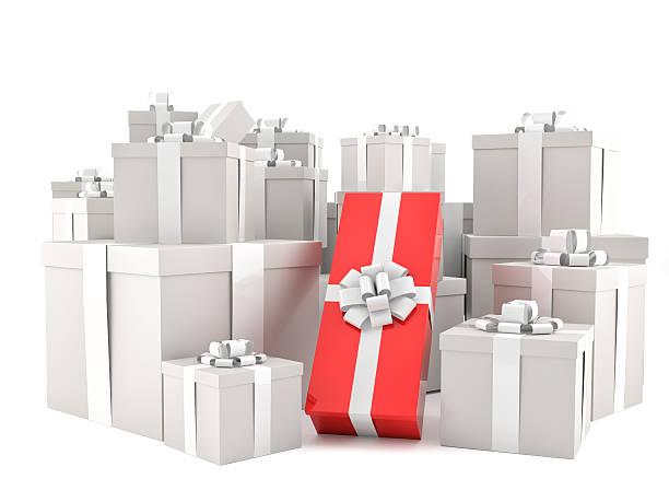 gray boxes and one red box gift - besondere geschenke stock-fotos und bilder