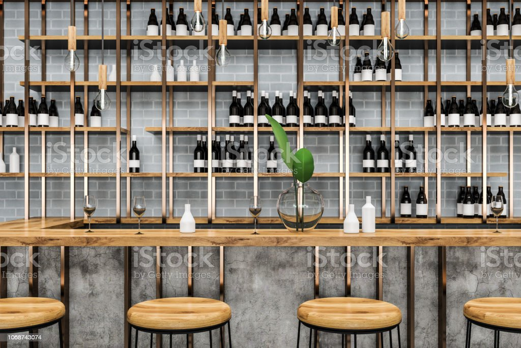 Gray Brick Bar Table With Stools Close Up Stock Photo Download Image Now Istock