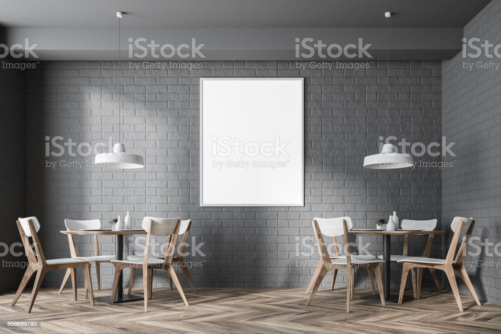 Modern interior with poster and chair poster mock up d