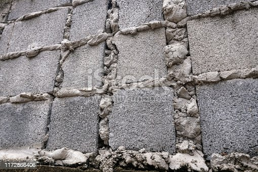 Gray brick walls that not complete while the cement already dry