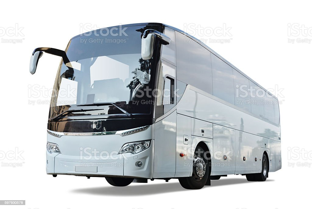Gray Bus stock photo
