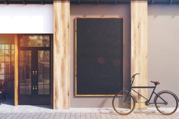 cinza café, quadro-negro, em tons - facade shop 3d - fotografias e filmes do acervo