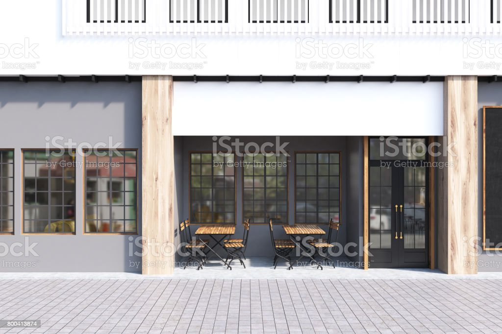 Gray cafe exterior - foto stock