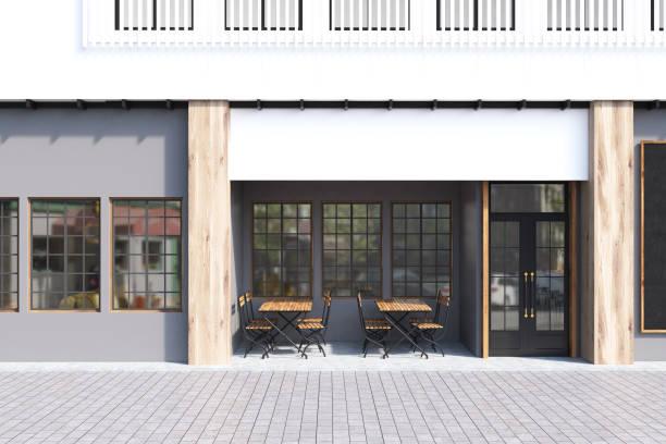 café gris exterior - fachada arquitectónica fotografías e imágenes de stock