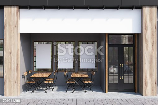 istock Gray cafe exterior, posters 701041296