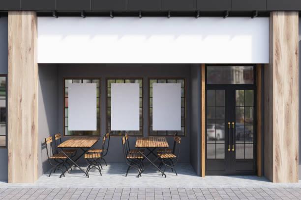 café gris exterior, carteles - fachada arquitectónica fotografías e imágenes de stock