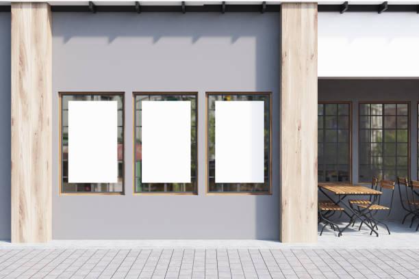 cinza café, cartazes, close-up - facade shop 3d - fotografias e filmes do acervo