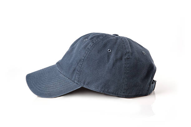 Gray cap on the head ready for branding. stock photo