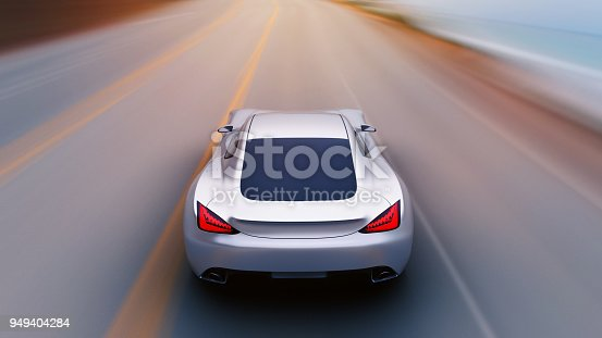 918555756 istock photo gray car driving on a road by sea 949404284