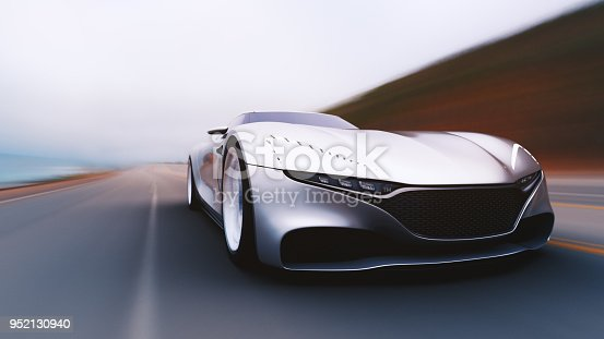 918555756 istock photo gray car driving on a road 952130940