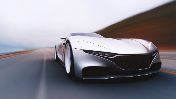 gray car driving on a road front view of fast moving car, motion blur,  3D, car of my own design. concept car stock pictures, royalty-free photos & images