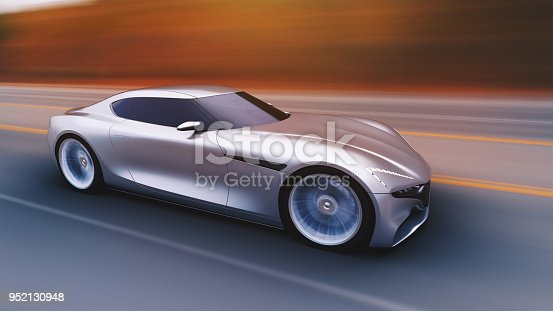 istock gray car driving on a road 952130948