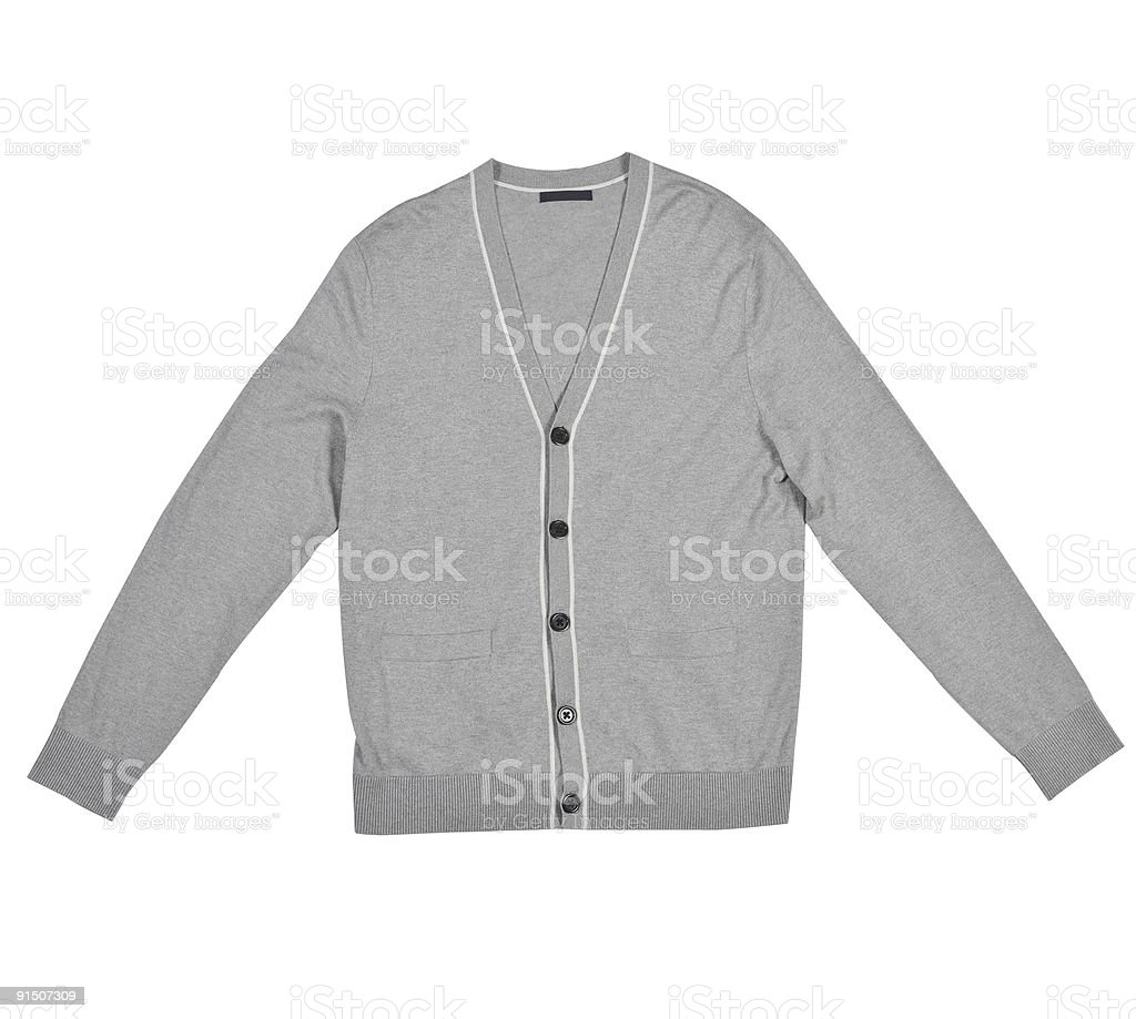 A gray cardigan isolated on white royalty-free stock photo