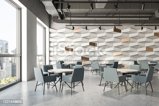 Interior of modern industrial style restaurant with white and geometric pattern walls, grey ceiling, concrete floor and round tables with grey armchairs. 3d rendering