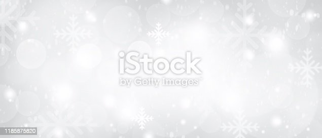 530427918 istock photo Gray Christmas abstract texture background with snowflakes winter and bokeh lights. blurred beautiful shiny Christmas new year, use wallpaper backdrop and your product. 1185875820