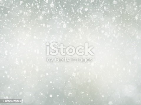 530427918 istock photo Gray Christmas abstract texture background with snowflakes winter and bokeh lights. blurred beautiful shiny Christmas new year, use wallpaper backdrop and your product. 1185875953