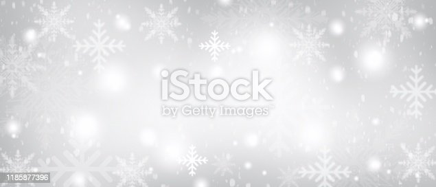 530427918 istock photo Gray Christmas abstract texture background with snowflakes winter and bokeh lights. blurred beautiful shiny Christmas new year, use wallpaper backdrop and your product. 1185877396