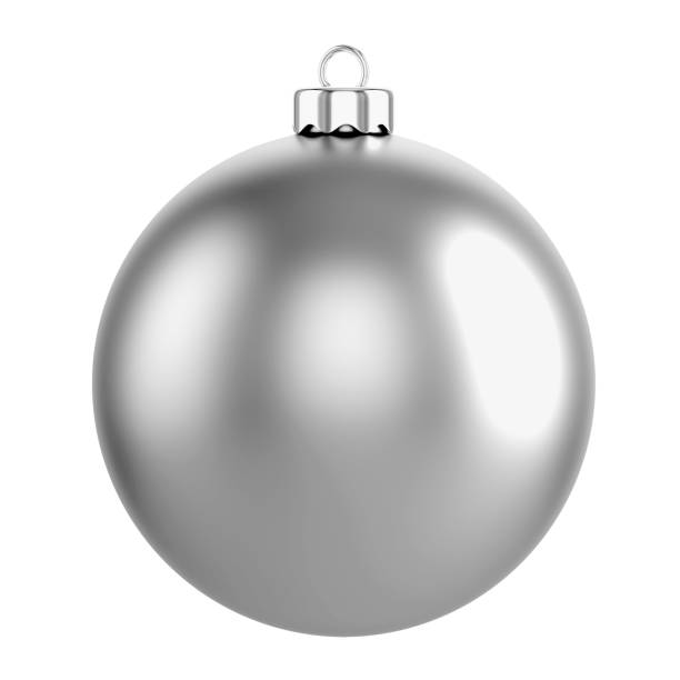 Gray Christmas Ball Isolated on white stock photo