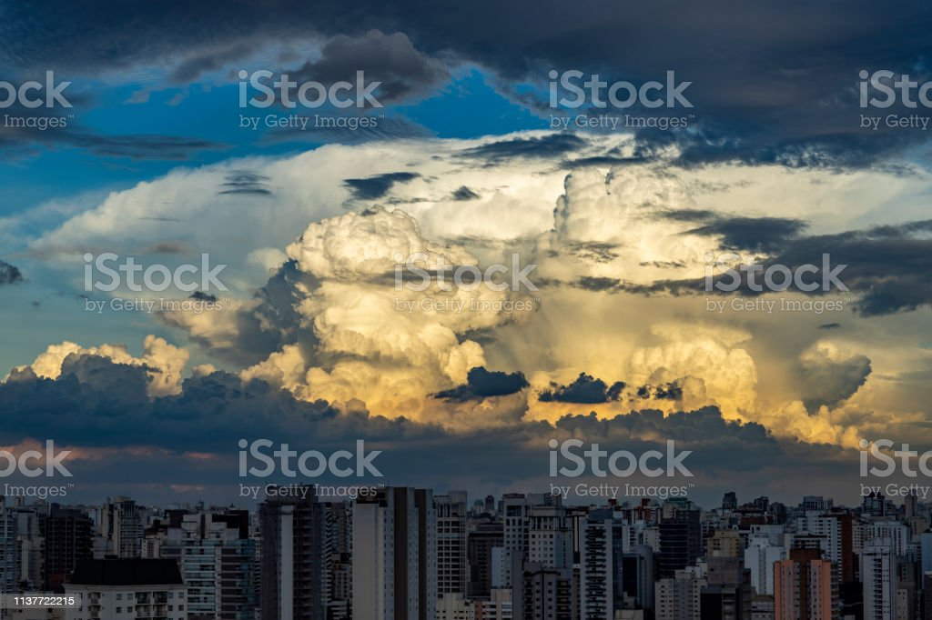 Gray cloud hunk formations on tropical sky, Nimbus moving, Abstract...