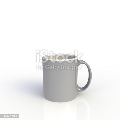 904387004 istock photo Gray coffee cup isolated on white background. Close up with side view. Mock up Template for application design. Exhibition equipment. Set template for the placement of the logo. 3D rendering. 904757336