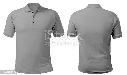 Blank collared shirt mock up template, front and back view, isolated on white, plain gray t-shirt mockup. Polo tee design presentation for print.