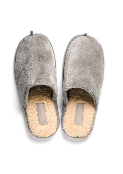 Gray comfortable slipper stock photo
