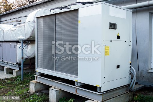 istock Gray commercial AC unit for central ventilation system 924118016