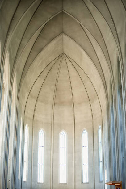 Gray Concrete Cathedral Interior Reykjavik Iceland Hallgrímskirkja church stock pictures, royalty-free photos & images