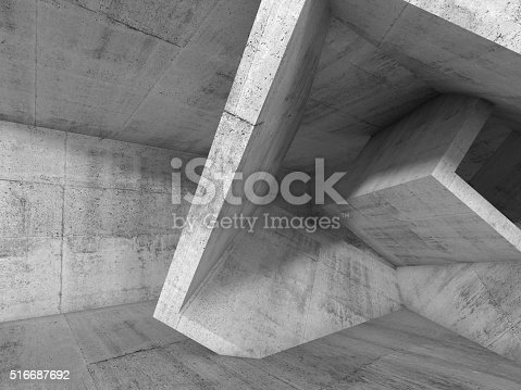 516688156istockphoto Gray Concrete room with 3d cubic structures 516687692