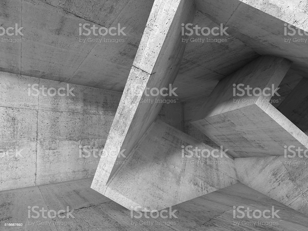 Gray Concrete room with 3d cubic structures stock photo