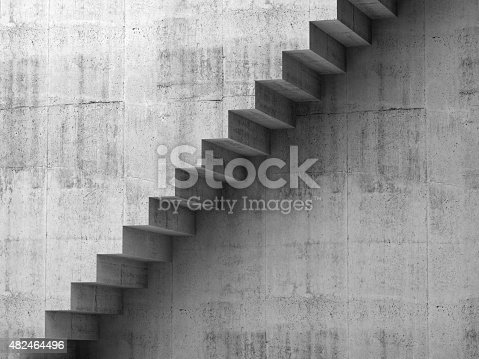 istock Gray concrete stairway on the wall, 3d interior 482464496
