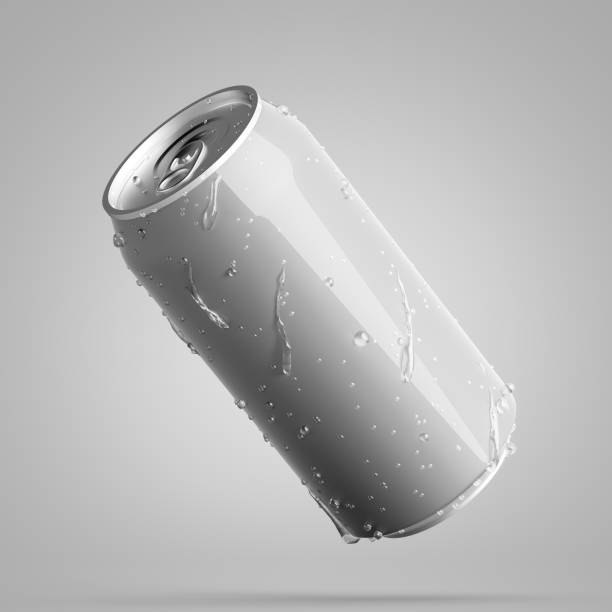 grijs diagonaal aluminium kan met waterdruppels - voorraadbus stockfoto's en -beelden
