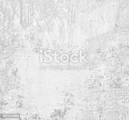 istock Gray dilapidated grunge wall texture, concrete cement background 637214332