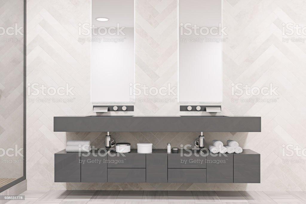 Wasbak Badkamer Grijze : Grijze dubbele wastafel badkamer stockfoto en meer beelden van