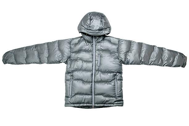 Gray down jacket stock photo