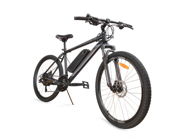 Gray electric bike isolated with clipping path Gray electric bike angle view. Isolated on white, clipping path included letter e stock pictures, royalty-free photos & images