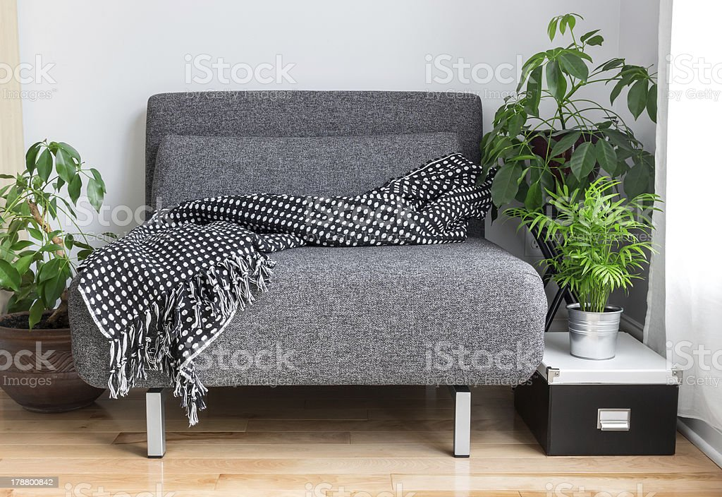 Gray fabric chair and plants in the living room stock photo