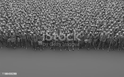 Gray faceless crowd of people on a gray background. Large bleached group of people in monochrome color. 3D rendering with copy space. High angle view.