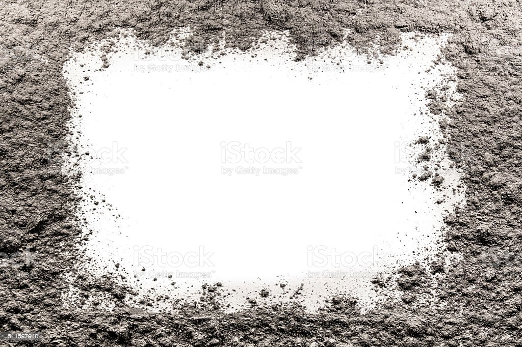 Gray frame made of ash on a white background stock photo