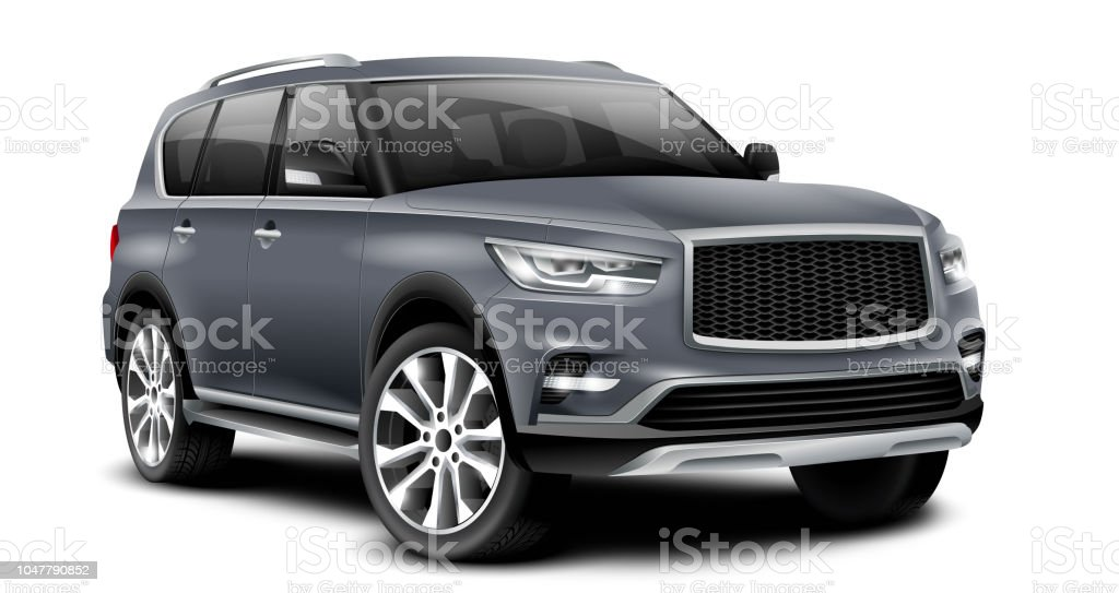 Gray Generic SUV Car With Isolated Path On White Background stock photo