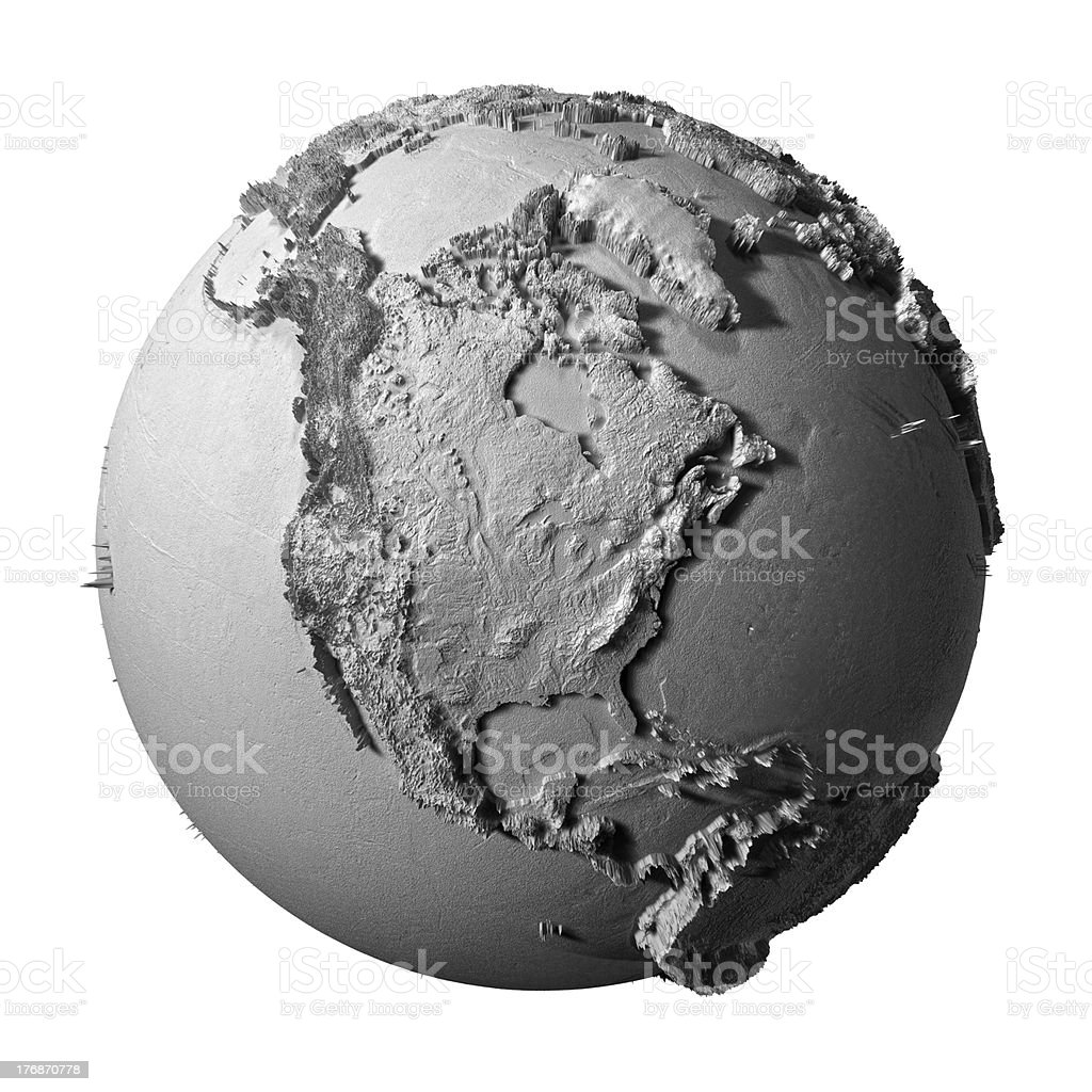 Gray Globe - North America stock photo