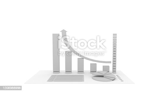 istock 3D gray graph and circle graph,isolated on white background, illustration, 3D rendering. 1206988996