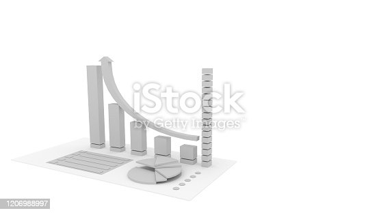 istock 3D gray graph and circle graph,isolated on white background, illustration, 3D rendering. 1206988997
