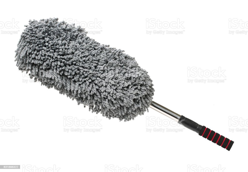Gray hand cotton duster for cleaning a car on white background stock photo