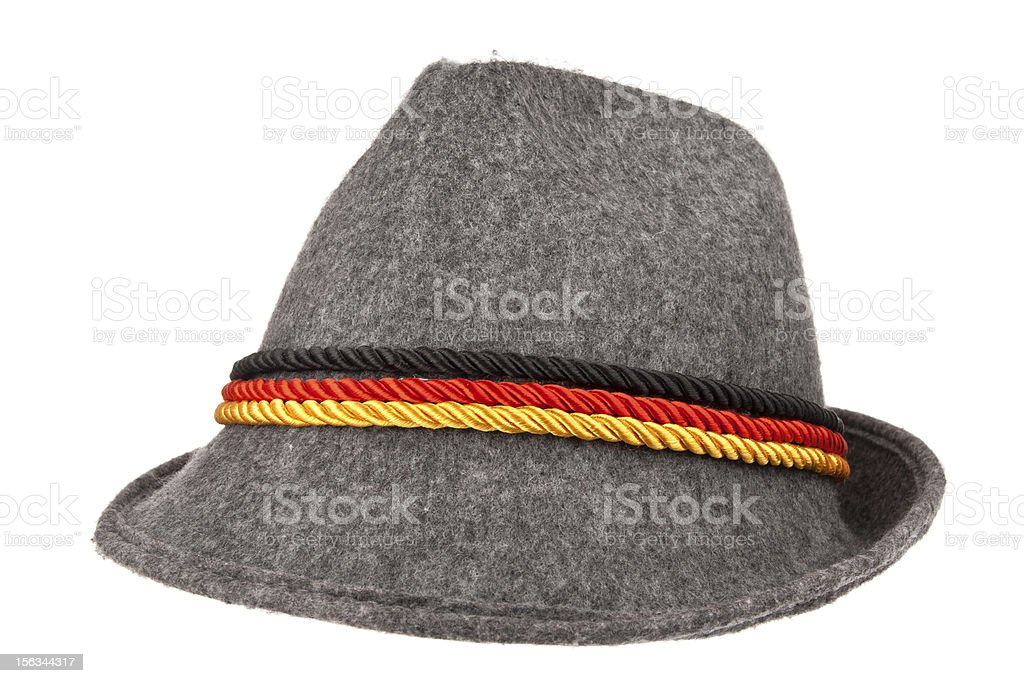 Gray hat with color stripes royalty-free stock photo