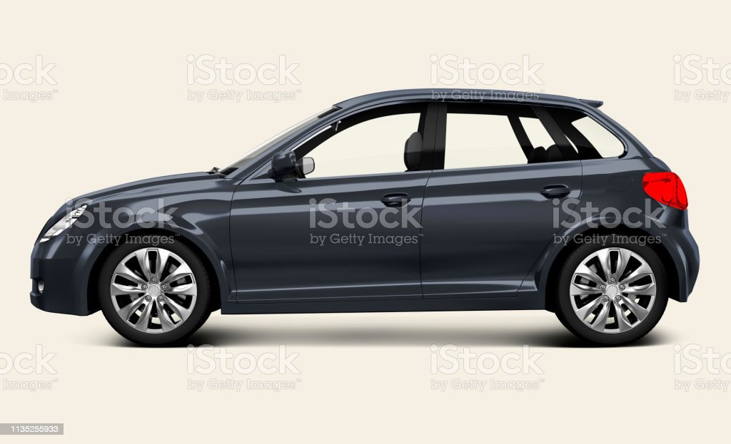 Gray hatchback car stock photo