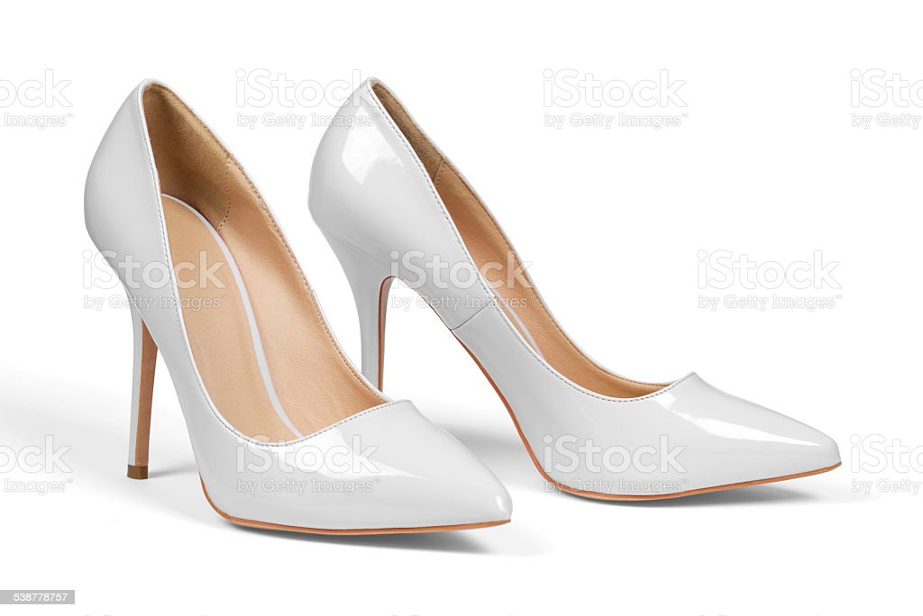 Gray high hell shoes stock photo