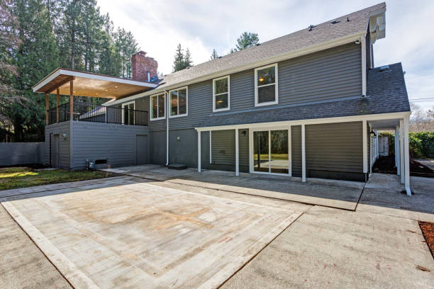 Gray home exterior with patio area stock photo
